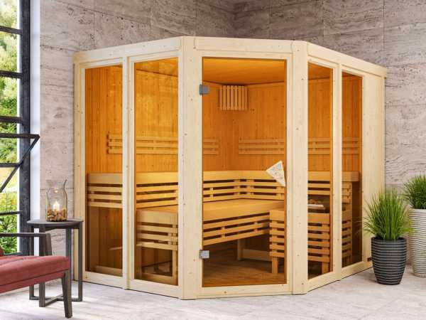 """Sauna """"Ainur"""" mit bronzierter Glastür"""