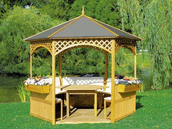 Pavillon Palma inkl. Holzdach, Dachpappe und Möbel