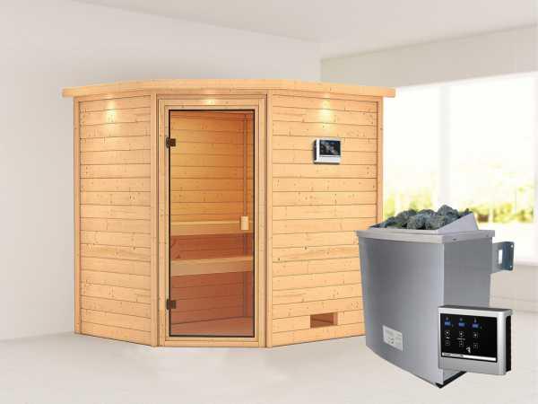 Sauna Elea mit bronzierter Glastür und Dachkranz + 9 kW Saunaofen ext. Strg.