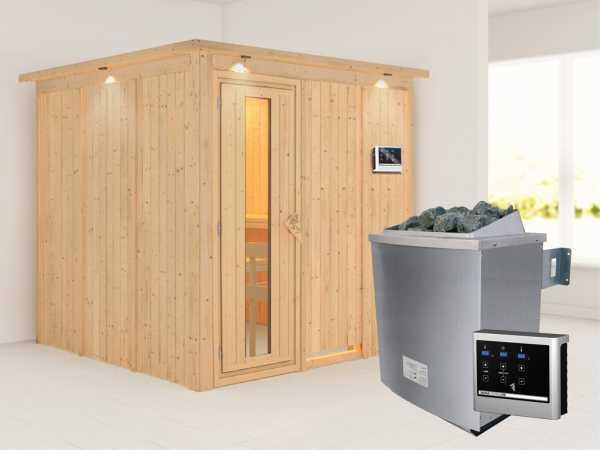 Systemsauna Rodin mit Dachkranz, Holztür mit Isolierglas, inkl. 9 kW Saunaofen ext. Steuerung