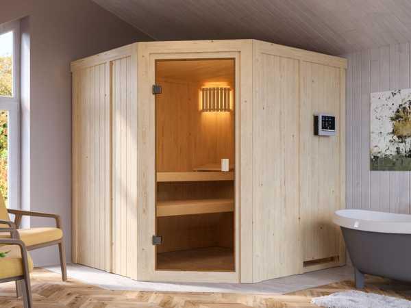 """Sauna """"Bodo"""" mit bronzierter Glastür + 9 kW Saunaofen ext. Strg."""