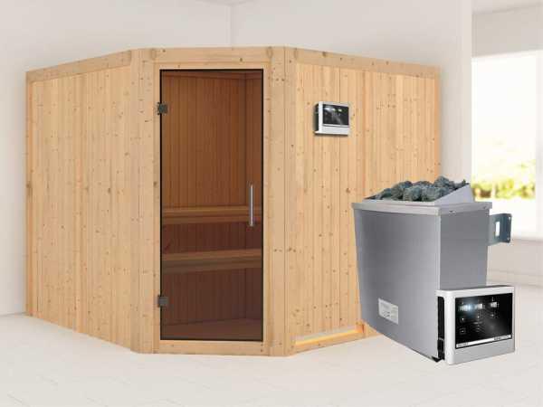 """Sauna Systemsauna """"Farin"""" graphit Ganzglastür + 9 kW Saunaofen mit ext. Strg"""