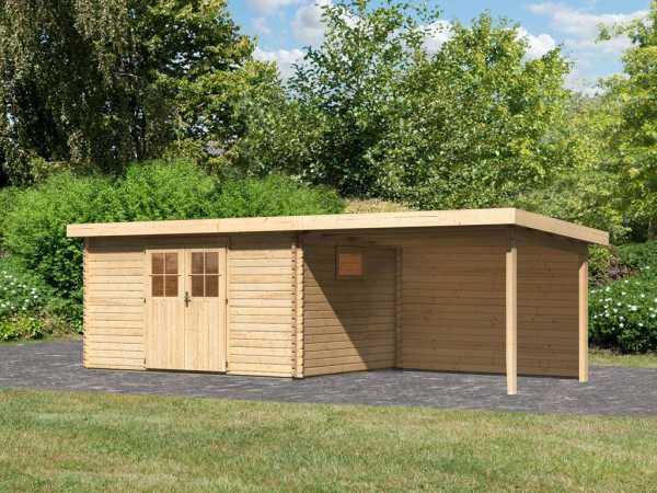Gartenhaus Blockbohlenhaus SET Torgau 5 40 mm naturbelassen, inkl. 3 m Anbaudach + Rückwand