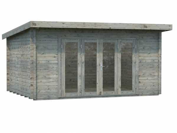 Gartenhaus Blockbohlenhaus Lea 14,2 m² 44 mm grau tauchimprägniert