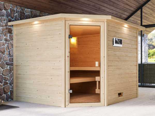 Sauna Dalia mit bronzierter Glastür und Dachkranz + 9 kW Saunaofen ext. Strg.