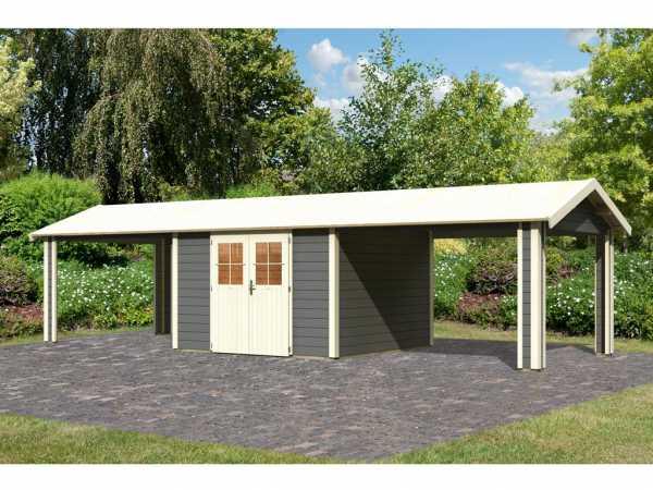 Gartenhaus SET Espelo 7 CLASSIC 28 mm terragrau, inkl. 2 Dachausbauelemente