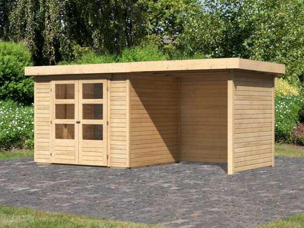 Gartenhaus SET Askola 3 19 mm naturbelassen, inkl. 2,4 m Anbaudach + Seiten- und Rückwand