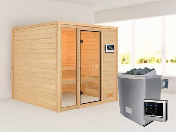 """Sauna """"Jutta"""" mit bronzierter Glastür + 9 kW Saunaofen ext. Strg."""