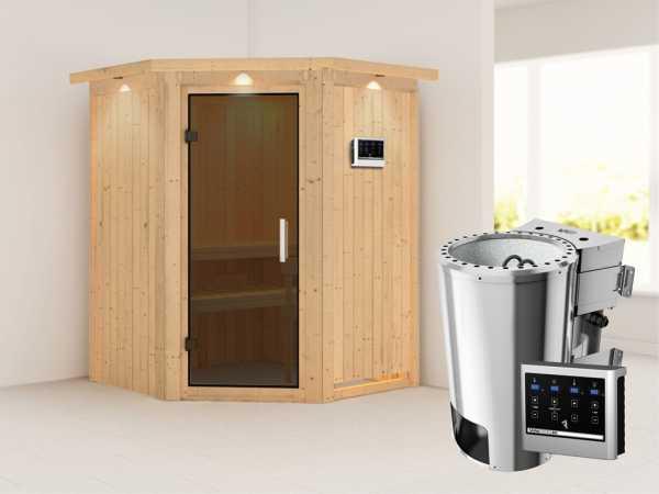 Sauna Systemsauna Nanja mit Dachkranz, graphit Ganzglastür + Plug & Play Bio-Ofen mit ext. Strg