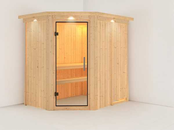 Sauna Systemsauna Saja mit Dachkranz, Klarglas Ganzglastür