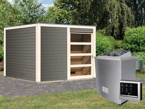 Saunahaus Cuben 38 mm terragrau inkl. 9 kW Saunaofen ext. Steuerung