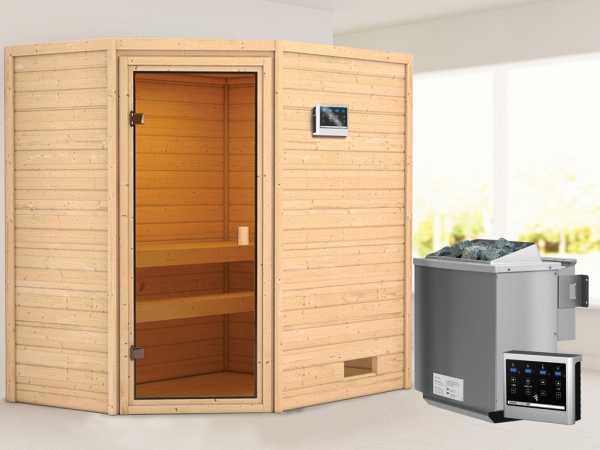 """Sauna """"Jella"""" mit bronzierter Glastür + 9 kW Bio-Kombiofen ext. Strg."""