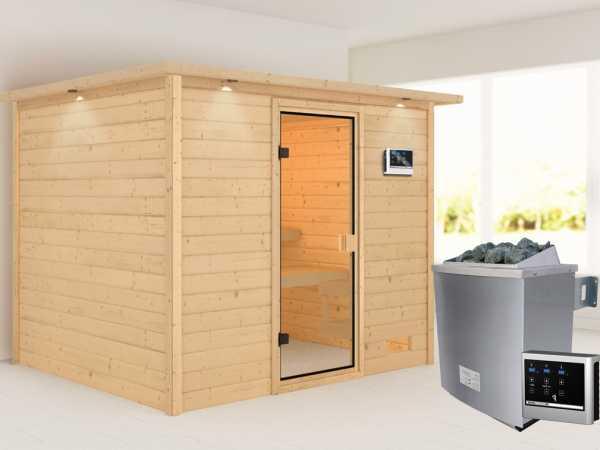Sauna Katja mit bronzierter Glastür und Dachkranz + 9 kW Saunaofen ext. Strg.