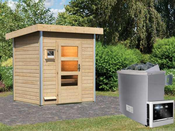 """Saunahaus """"Jorgen"""" mit Klarglastür, inkl. 9 kW Saunaofen mit externer Steuerung"""