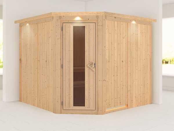 """Sauna Systemsauna """"Farin"""" mit Dachkranz, Energiespartür"""