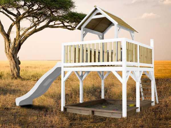 Spielturm Atka braun/weiß mit weißer Rutsche