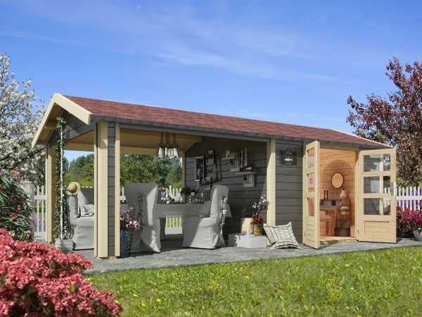 Gartenhaus SET Tastrup 7 28 mm terragrau inkl. 1 Dachausbauelement