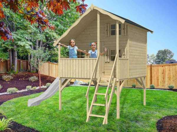 Spielhaus SPARSET Tom XL 15 mm naturbelassen inkl. Veranda, Stelzen und Rutsche weiß
