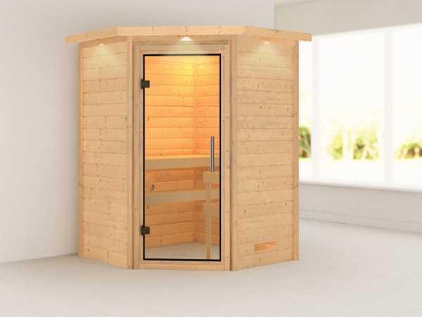 Sauna Massivholzsauna Franka mit Dachkranz, Klarglas Ganzglastür