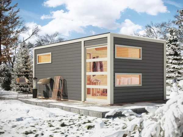 Saunahaus Hygge Grau mit Schiebetür & Vorraum, inkl. 9 kW Saunaofen mit externer Steuerung