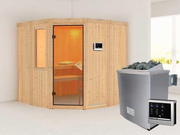 Sauna Systemsauna Simara 1 mit Fenster inkl. 9 kW Saunaofen ext. Steuerung