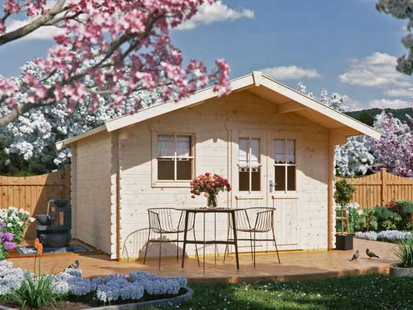 """Gartenhaus Blockbohlenhaus """"Malaga"""" 28 mm naturbelassen"""