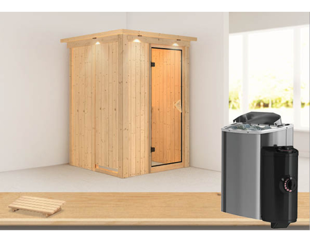 sauna systemsauna plug play lenja mit dachkranz inkl 3 6 kw saunaofen integr steuerung. Black Bedroom Furniture Sets. Home Design Ideas