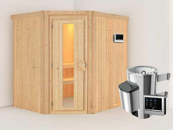 Sauna Systemsauna Lilja Energiespartür + Plug & Play Saunaofen mit externer Steuerung