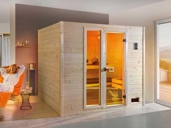 Sauna Massivholzsauna Sparset Valida GTF inkl. 9 kW Ofen int. Steuerung + Leuchtenset
