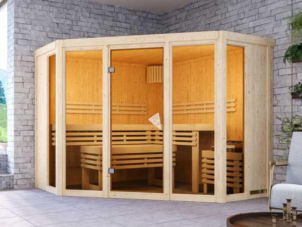 """Sauna Systemsauna SPARSET """"Beri"""" inkl. 9 kW Bio-Ofen mit ext. Steuerung"""