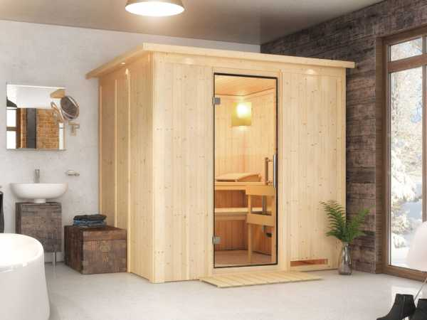 Sauna Systemsauna Sodin mit Dachkranz, Klarglas Ganzglastür