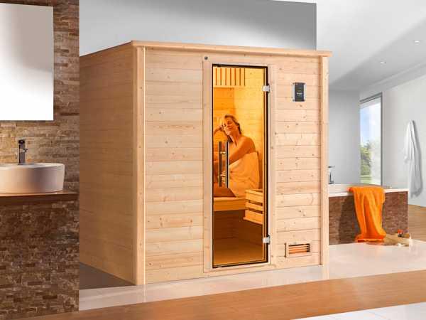 Sauna Massivholzsauna Bergen 1.8 GT graphit Ganzglastür
