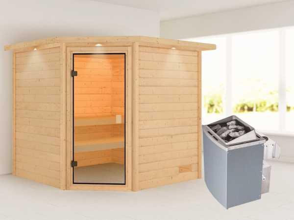Sauna Tilda mit bronzierter Glastür und Dachkranz + 9 kW Saunaofen integr. Strg.