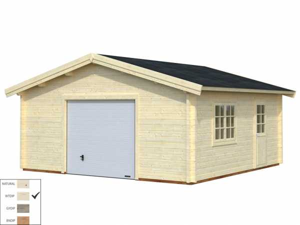 Garage Roger 27,7 m² mit Sektionaltor 70 mm transparent tauchimprägniert