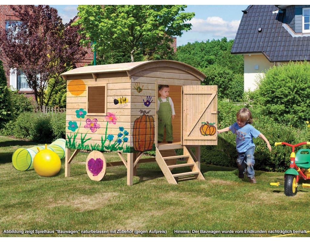 KARIBU WOODFEELING Spielhaus Bauwagen 14 mm naturbelassen