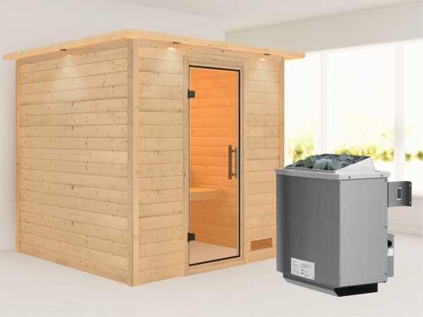 """Sauna Massivholzsauna """"Nora"""" mit Dachkranz, Klarglas Ganzglastür + 9 kW Saunaofen mit Steuerung"""