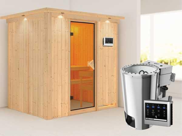 Sauna Systemsauna Fanja mit Dachkranz, inkl. Plug & Play Bio-Ofen externe Steuerung