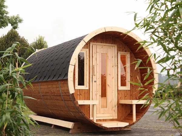 Campingfass 330 1-Raum naturbelassen, komplett montiert, inkl. Dachschindeln schwarz
