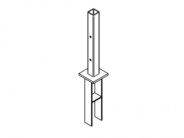 verzinkter Stahl Pfostenanker zum Einbetonieren verzinkt 11 x 11 x 70 cm