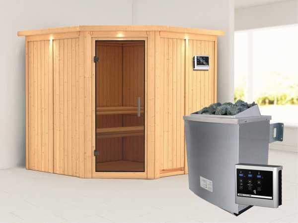 Systemsauna Jarin mit Dachkranz, graphit Ganzglastür, inkl. 9 kW Saunaofen ext. Steuerung