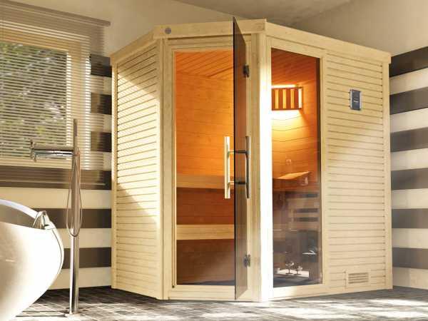 Sauna Massivholzsauna Cubilis ECK 1 mit Rundum-Sorglos-Paket (Lieferung, Aufbau, Licht)