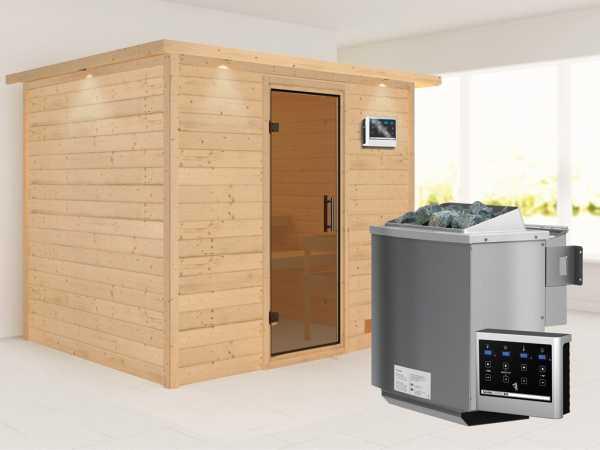 Sauna Massivholzsauna Karla mit Dachkranz, graphit Ganzglastür + 9 kW Bio-Kombiofen mit ext. Strg