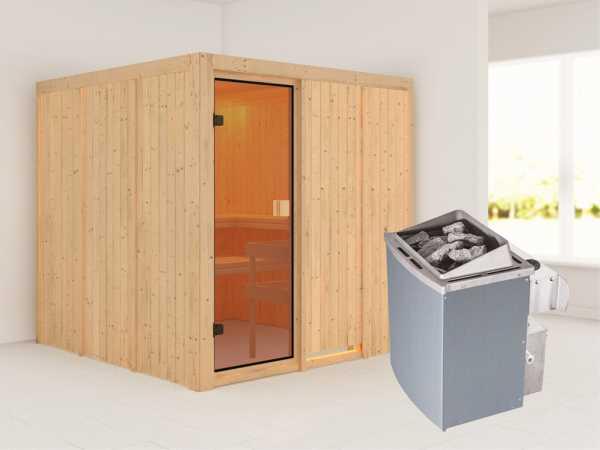 Sauna OULU / Celine 4 mit bronzierter Glastür + 9 kW Saunaofen integr. Strg.