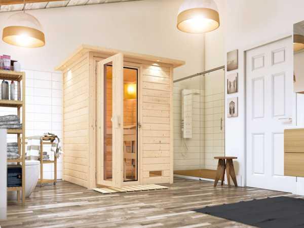 Sauna Massivholzsauna Svenja mit Dachkranz, Holztür mit Isolierglas