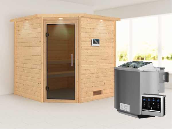 Sauna Massivholzsauna Nina mit Dachkranz, graphit Ganzglastür + 9 kW Bio-Kombiofen mit ext. Strg