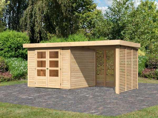 Gartenhaus SET Askola 3,5 19 mm naturbelassen, inkl. 2,4 m Anbaudach + Lamellenwänden