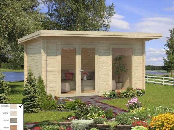 """Gartenhaus Blockbohlenhaus """"Heidi"""" 11,7 m² 44 mm naturbelassen"""