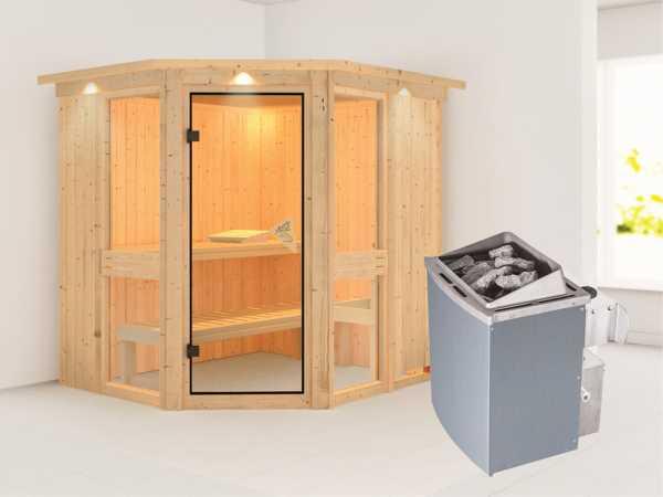 Sauna Systemsauna Amelia 1 mit Dachkranz, inkl. 9 kW Saunaofen integr. Steuerung
