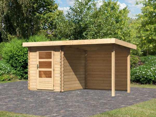 Gartenhaus Blockbohlenhaus SET Bastrup 1 28 mm naturbelassen, inkl. 2 m Anbaudach + Rückwand