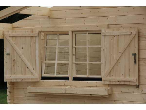 Gartenhaus Fensterladen Blumenkasten Set für Doppelfenster Sapin 15 + Sapin 17 + Lilas 16